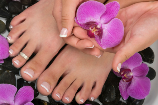 professionally manicured feet